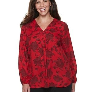 APT 9 Plus Size 2X NWT Red Vee Neck Blouse